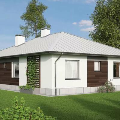 Проект одноэтажного дома под светлой крышей